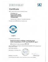 Сертификат PERT AL PERT FV PLAST
