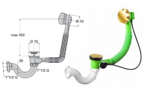 Сифоны для ванны - sifon-dlya-vanny-avtomat-komplekt-tsvet-zoloto - miano-group - x - 0-62 - 12 - czech-republic