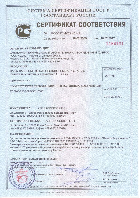 APE сертификат соответствия AP100, AP200