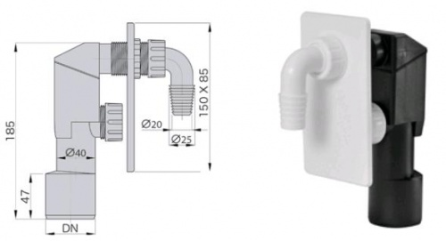 Сифон для стиральной машины - sifon-pod-shtukaturku-belyj - miano-group - x - 0-157 - 90 - czech-republic