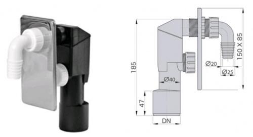 Сифон для стиральной машины - sifon-pod-shtukaturku-nerzh - miano-group - x - 0-176 - 90 - czech-republic