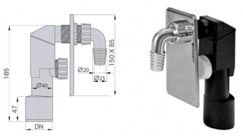 Сифон для стиральной машины - sifon-pod-shtukaturku-hrom - miano-group - x - 0-157 - 90 - czech-republic